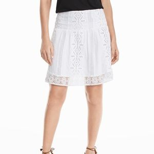 White House Black Market embroider cotton skirt 10